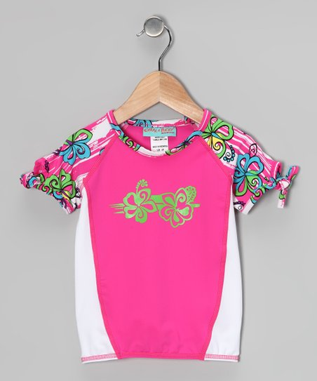 Fuchsia & Surf Flower Twisty Rashguard - Toddler