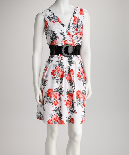 White & Coral Floral Belted Dress