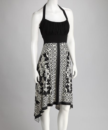 Black & White Halter Sidetail Dress