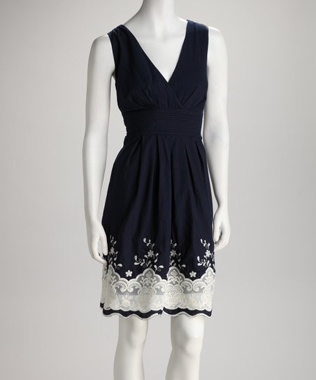 Navy Lace Pleated Surplice Dress