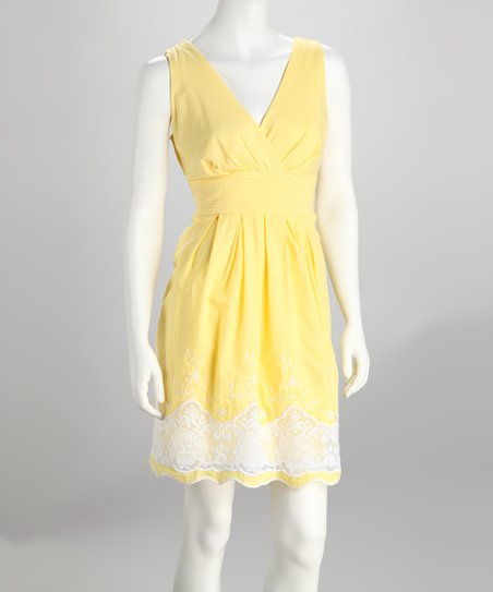 Yellow & White Lace Surplice Dress