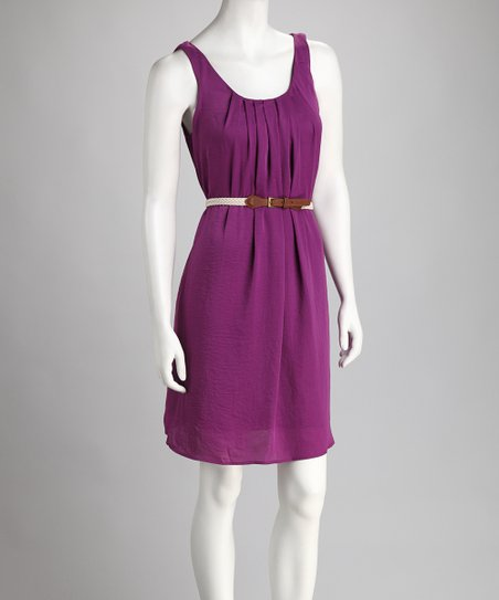 Purple Pleats Belted Dress
