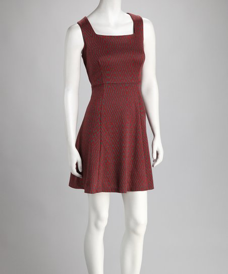 Red &amp; Gray Square Neck Dress