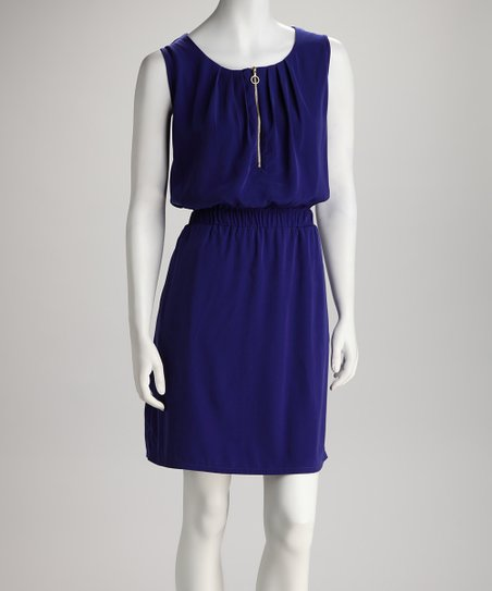 Royal Blue Zipper Shirred-Waist Dress