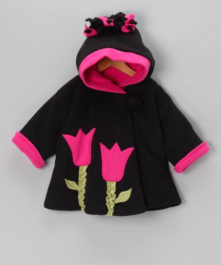 Black & Watermelon Wrap Swing Coat - Infant, Toddler & Girls