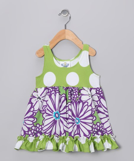 Purple & Green Mummy Babydoll Dress - Toddler & Girls