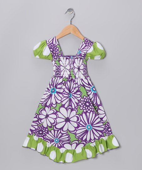 Purple &amp; Green Mummy Smocked Dress - Infant, Toddler &amp; Girls
