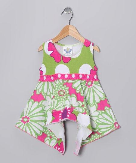 Green & Pink Mummy Handkerchief Tunic - Infant, Toddler & Girls
