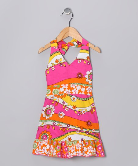 Pink & Orange Garden Halter Dress - Infant