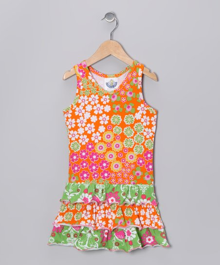 Orange Calico Drop-Waist Dress - Infant