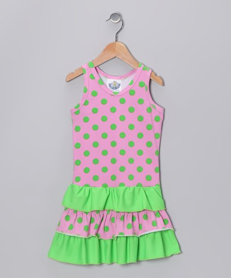 Pink & Green Polka Dot Racerback Dress - Infant, Toddler & Girls
