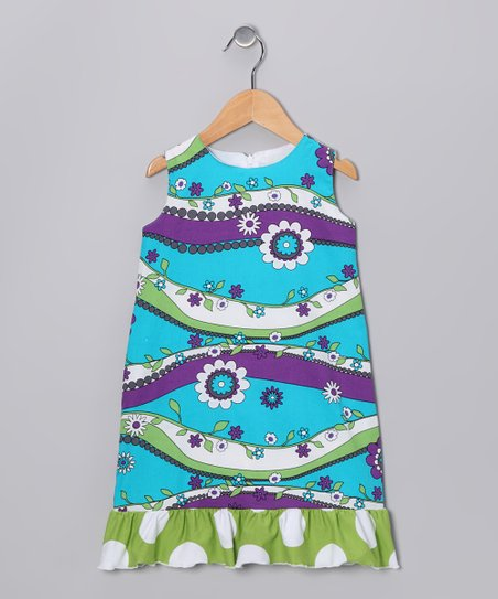 Turquoise, Purple & Green Garden Shift Dress - Toddler & Girls