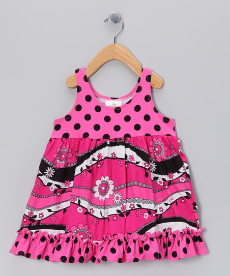 Hot Pink & Black Babydoll Dress - Infant, Toddler & Girls