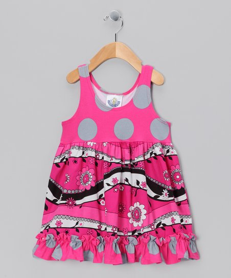 Hot Pink & Gray Babydoll Dress - Toddler & Girls