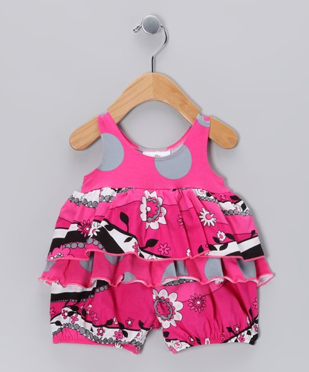 Hot Pink Garden Frolic Bubble Romper - Infant