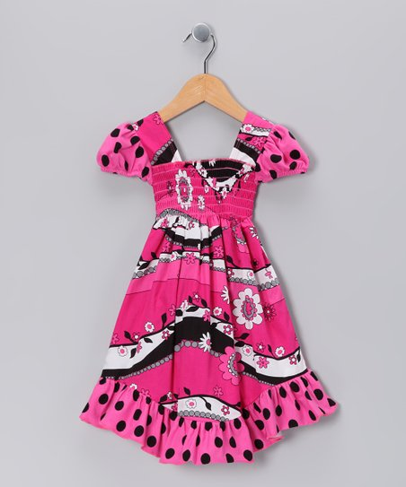 Hot Pink Garden Frolic Smocked Dress - Infant, Toddler & Girls
