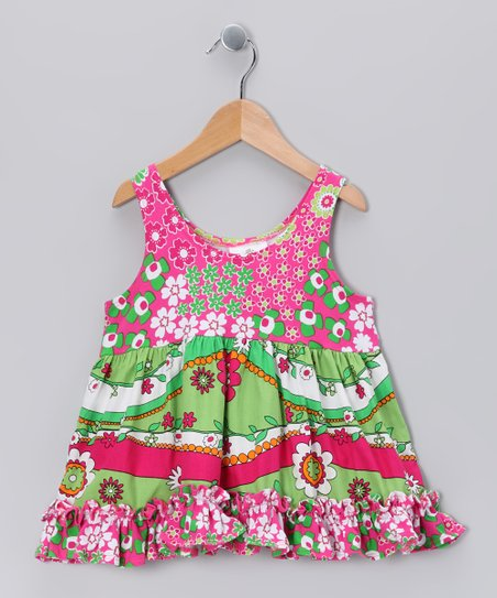 Green Garden Frolic Babydoll Dress - Girls