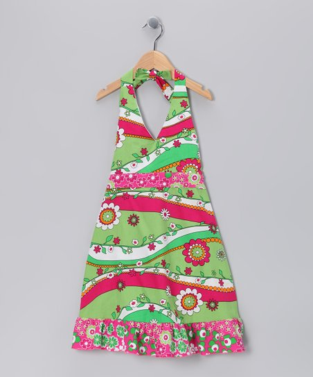 Green Garden Frolic Halter Dress - Girls