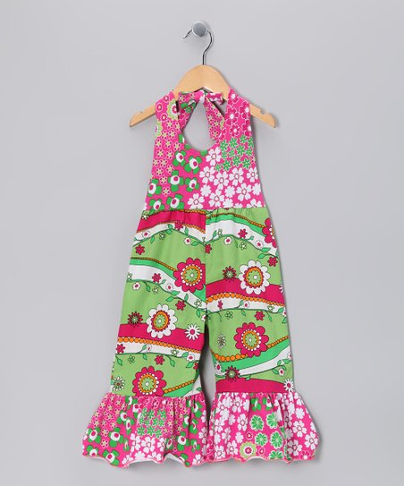 Green Garden Frolic Jumpsuit - Girls