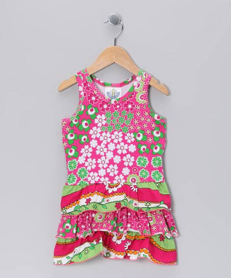 Green Garden Frolic Drop-Waist Dress - Toddler & Girls