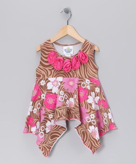 Brown Zoology Handkerchief Tunic - Infant, Toddler & Girls