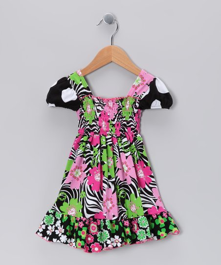 Black Zoology Smocked Dress - Toddler &amp; Girls