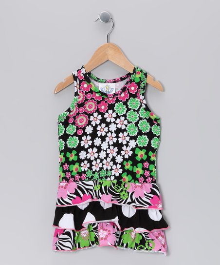 Black Zoology Drop-Waist Dress - Girls