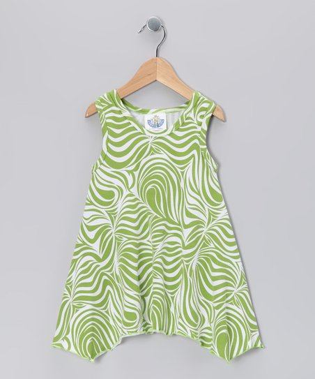 Green Zebra Handkerchief Tunic - Girls