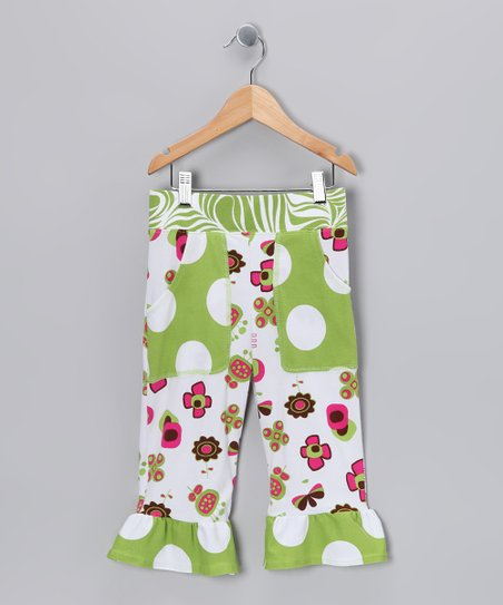 Green Summertime Pocket Ruffle Capri Pants - Toddler & Girls