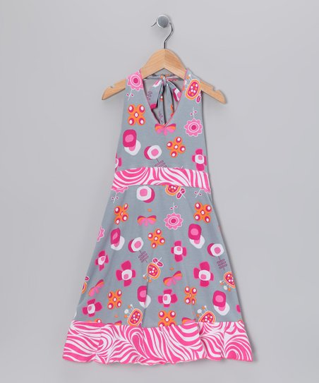 Gray Summertime Halter Dress - Toddler & Girls