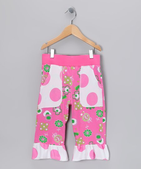 Hot Pink Summertime Pocket Ruffle Capri Pants - Toddler & Girls
