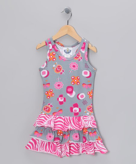 Gray Zebra Summertime Drop-Waist Dress - Infant & Girls