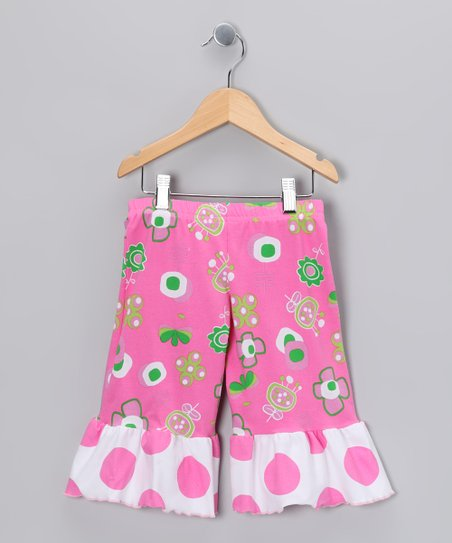 Hot Pink Summertime Wide-Leg Ruffle Capri Pants - Toddler &amp; Girls