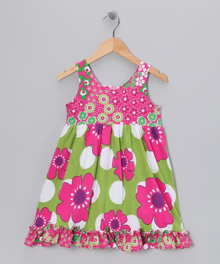 Green Pop Art Babydoll Dress - Girls