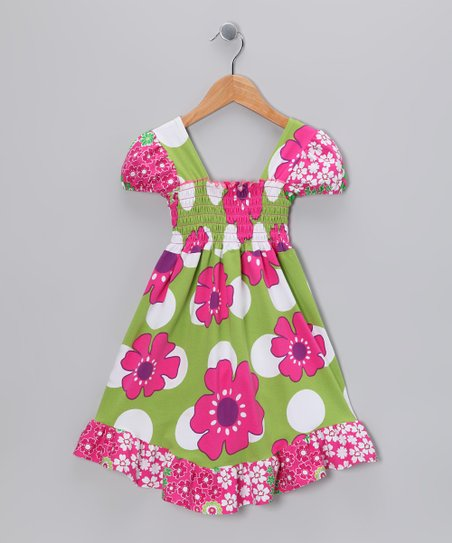 Green Pop Art Smocked Dress - Infant, Toddler &amp; Girls