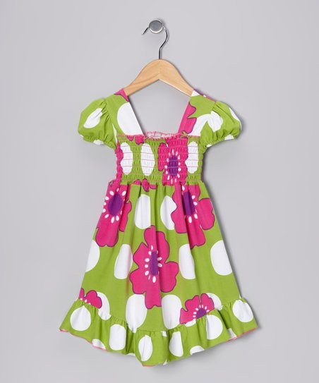 Green Pop Art Smocked Dress