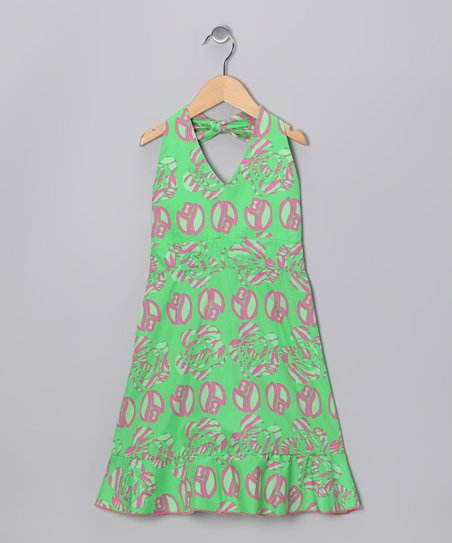 Green Wildflower Halter Dress - Girls