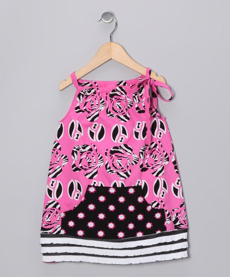 Pink & Black Wildflower Swing Tunic - Infant & Girls
