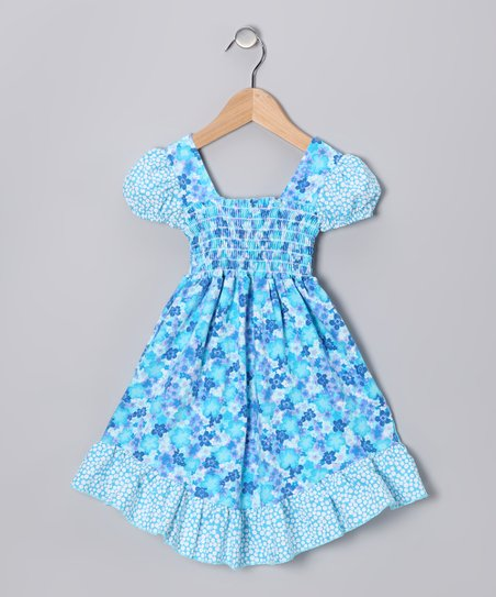 Blue Floral Smocked Dress - Infant, Toddler & Girls
