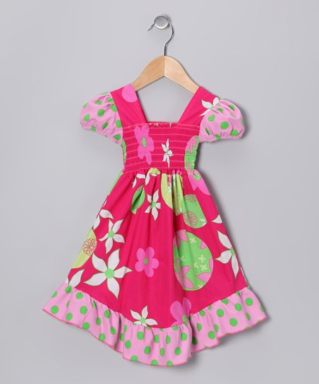 Fuchsia Forget Me Not Smocked Dress - Toddler & Girls