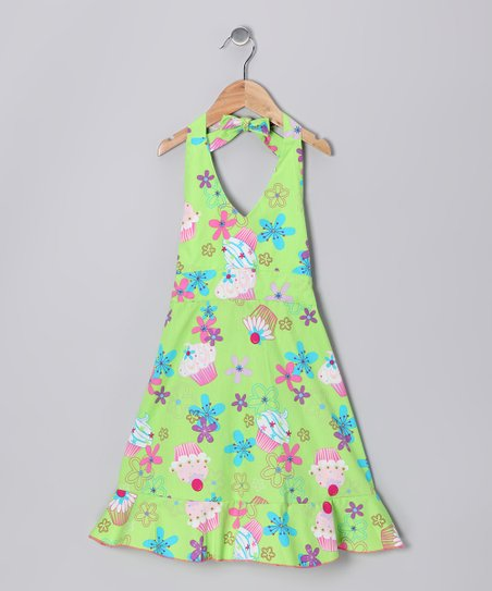 Green Sugar Halter Dress - Girls