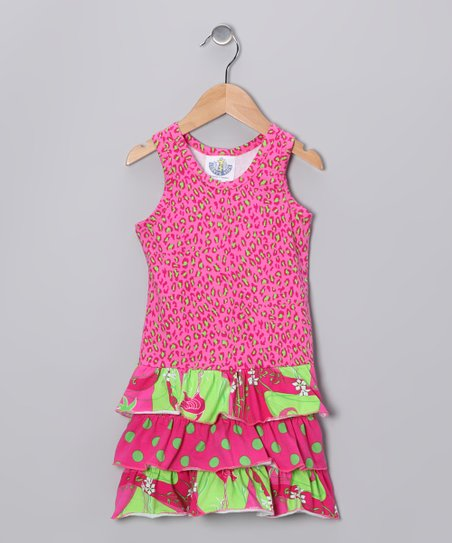 Pink Flamingo Deco Drop-Waist Dress - Infant, Toddler &amp; Girls