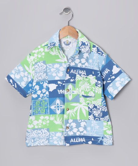 Blue 'Aloha' Camp Button-Up - Infant & Boys