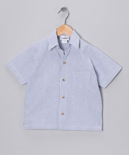 Navy Stripe Camp Button-Up - Infant, Toddler & Boys