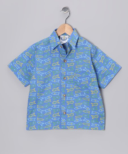 Royal Blue Little Fish Camp Button-Up - Boys