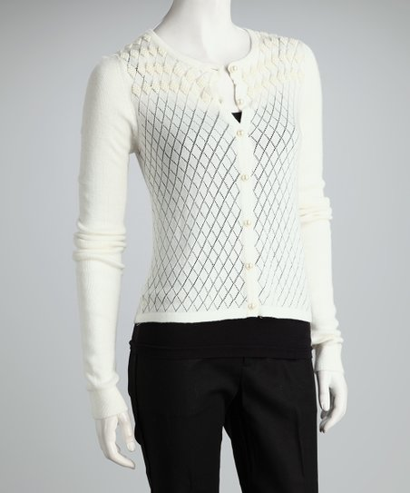 Ivory Diamond Pearl Trim Cardigan