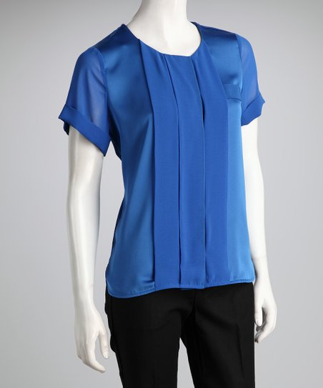Blue Pleated Front Top