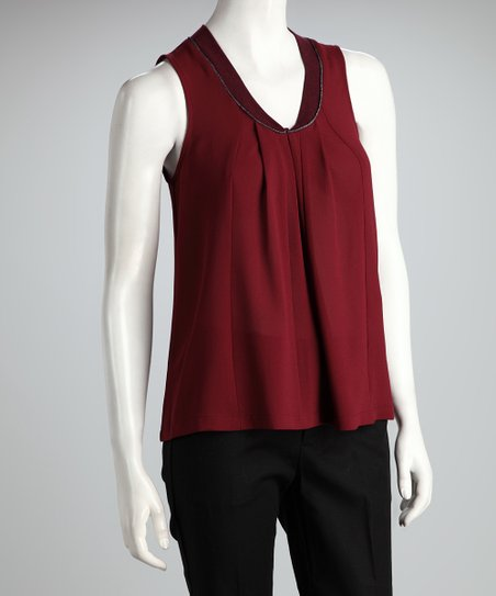 Burgundy Pleated Tank