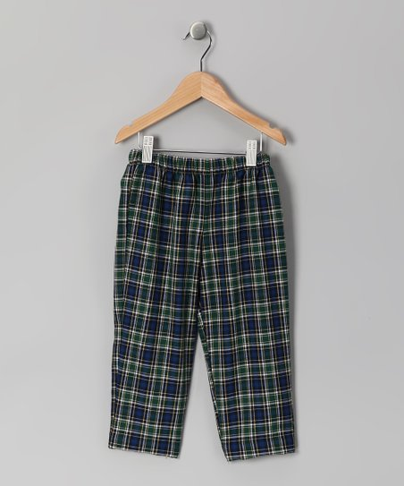 Blue & Green Plaid Pants - Infant