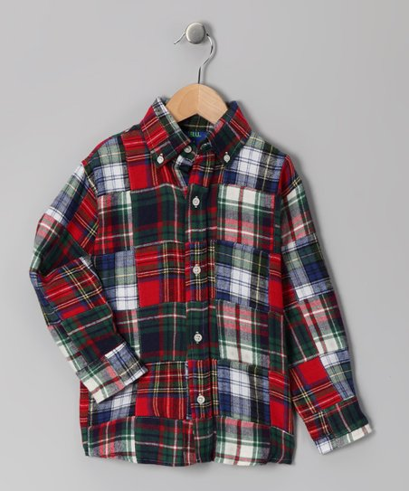 Red Flannel Patchwork Button-Up - Toddler & Boys
